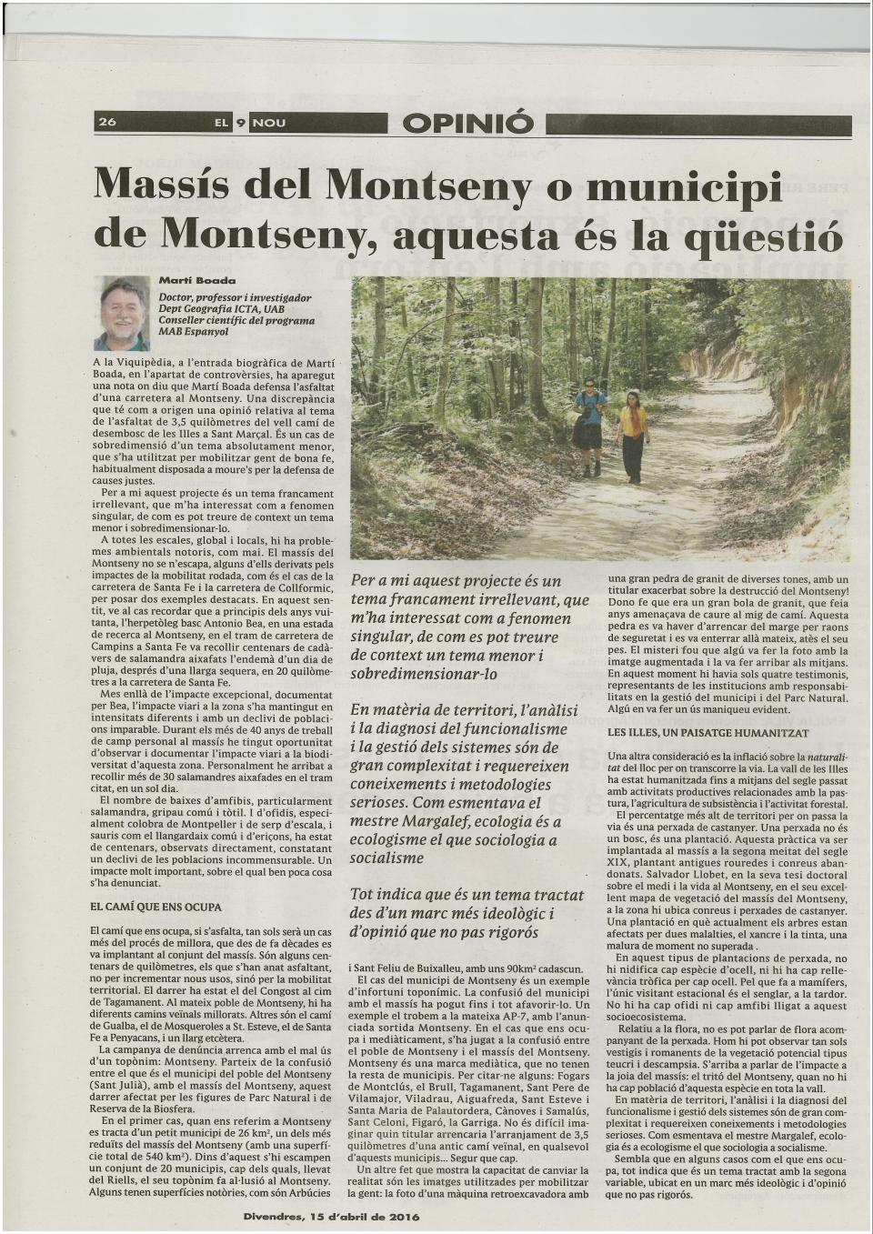 Massís del Montseny o municipi de Montseny aquesta és la questió_El 9 nou MB 15-4-2016